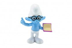Bangkok,Thailand - February 02, 2015: Brainy smurf wears glasses character toy from The Smurf movie.  There are plastic toy sold as part of the McDonald's Happy meals.