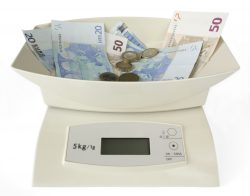 Modern electronic scales with banknotes and coins