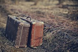 Two old shabby suitcases, stand forgotten on the road in a faded grass.